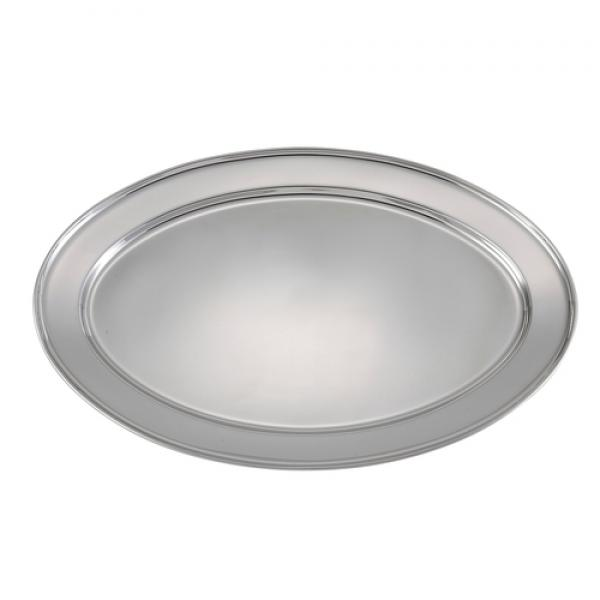 "Platter, 17-7/8"" x 12-1/4"", oval, 18/8 heavy stainless steel (Qty Break = 10 each)"