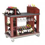 "Wine & Cordial Cart, mobile, 48""L x 24""W x 45-1/2""H, with handle, wood, cherry"