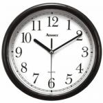 "Wall Clock, 10"" dia., analog, quartz accuracy, batteries not included, black"