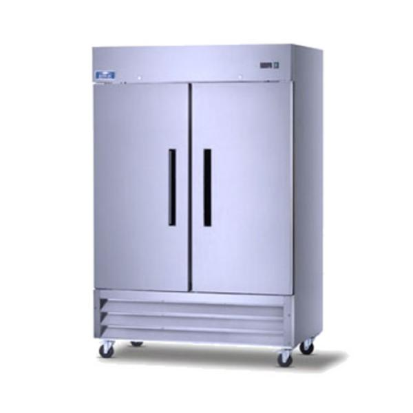 "Refrigerator, reach-in, two-section, 54""W, 49.0 cu. ft. capacity, electronic thermostat with"