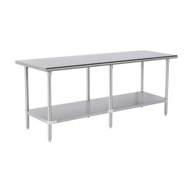 "Work Table, 96""W x 24""D, 16 gauge 430 stainless steel top, 18 gauge galvanized adjustable"