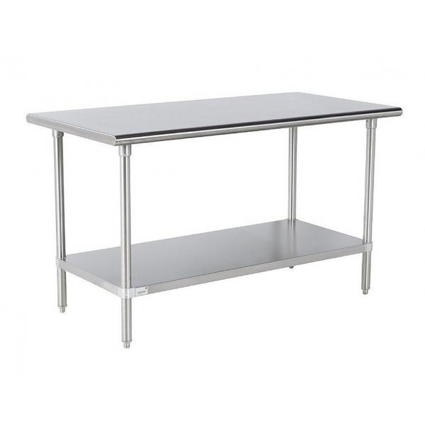 "Work Table, 60""W x 36""D, 16 gauge 430 stainless steel top, 18 gauge galvanized adjustable"