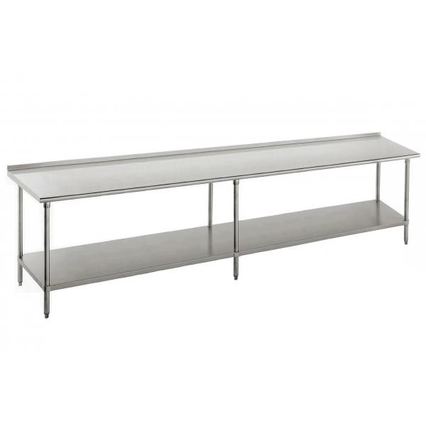 "Work Table, 132""W x 24""D, 16 gauge 430 stainless steel top with 1-1/2""H rear up-turn"