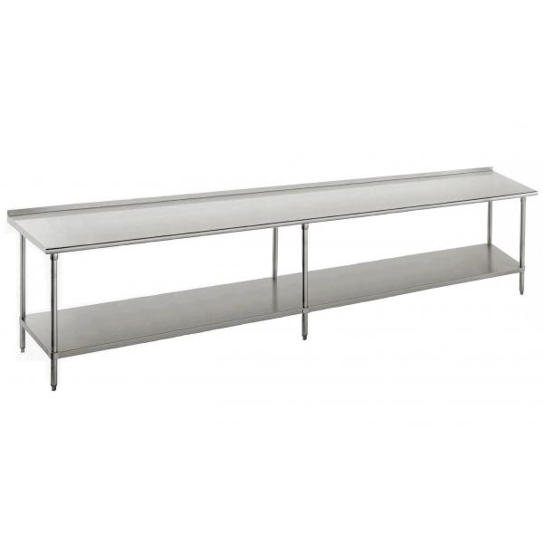 "Work Table, 144""W x 24""D, 16 gauge 430 stainless steel top with 1-1/2""H rear up-turn"