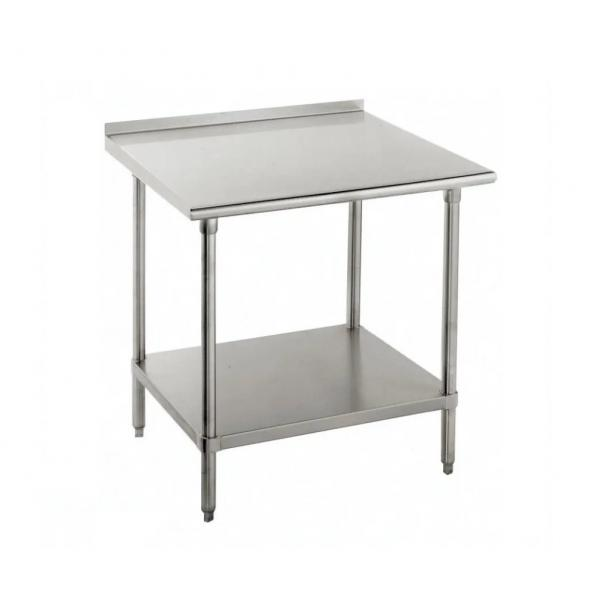 "Work Table, 36""W x 24""D, 16 gauge 430 stainless steel top with 1-1/2""H rear up-turn, 18"