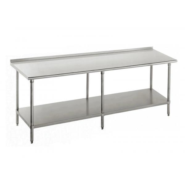 "Work Table, 96""W x 24""D, 16 gauge 430 stainless steel top with 1-1/2""H rear up-turn, 18"