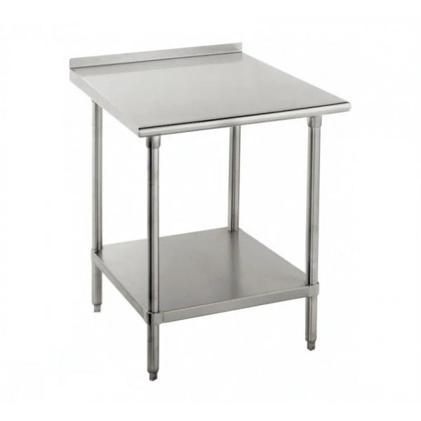"Work Table, 30""W x 30""D, 16 gauge 430 stainless steel top with 1-1/2""H rear up-turn, 18"