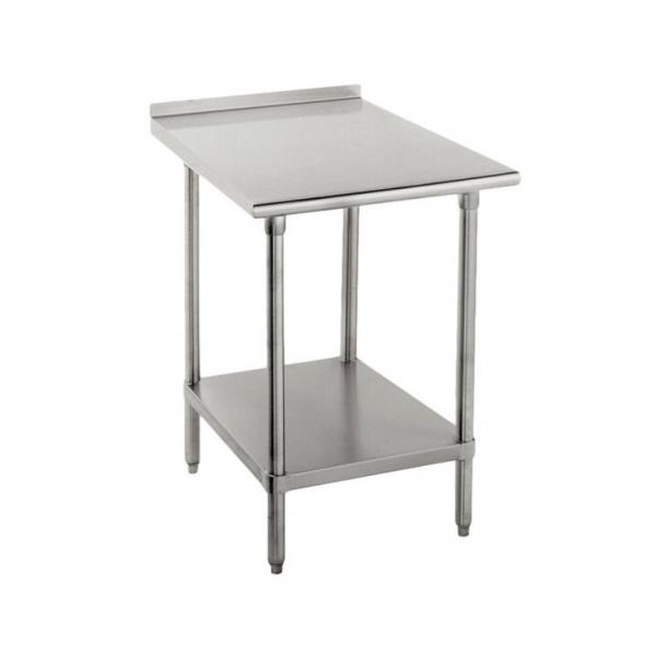 "Work Table, 24""W x 30""D, 16 gauge 430 stainless steel top with 1-1/2""H rear up-turn, 18"