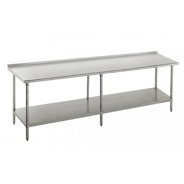 "Work Table, 108""W x 30""D, 16 gauge 430 stainless steel top with 1-1/2""H rear up-turn"