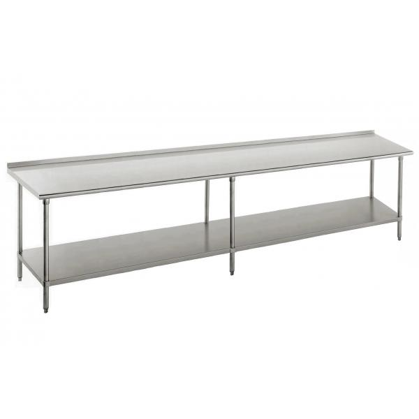 "Work Table, 132""W x 36""D, 16 gauge 430 stainless steel top with 1-1/2""H rear up-turn"