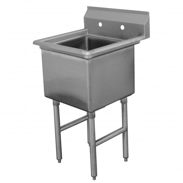 "Fabricated Sink, 1-compartment, no drainboards, bowl size 24"" x 24"" x 14"" deep, 16"