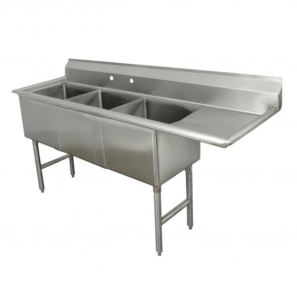 "Fabricated Sink, 3-compartment, 18"" right drainboard, bowl size 18"" x 24"" x 14"""