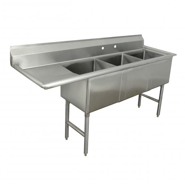 "Fabricated Sink, 3-compartment, 15"" left drainboard, bowl size 15"" x 15"" x 14"""