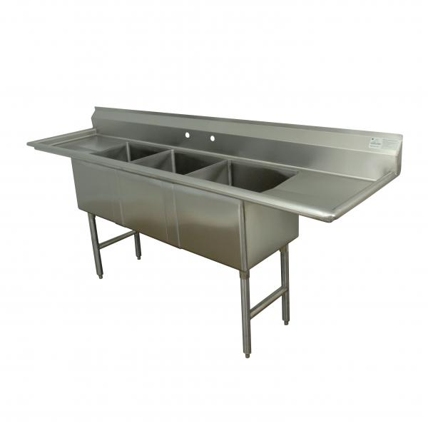 "Fabricated Sink, 3-compartment, 30"" right & left drainboards, bowl size 20"" x 30"" x"