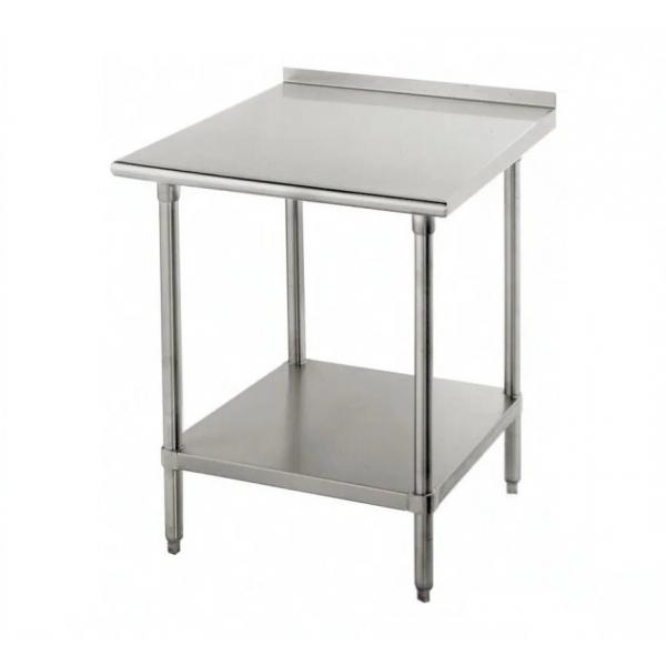 "Work Table, 30""W x 24""D, 16 gauge 430 stainless steel top with 1-1/2""H rear up-turn, 18"