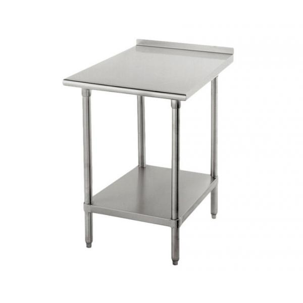 "Work Table,  24""W x 24""D, 16 gauge 430 stainless steel top with 1-1/2""H rear up-turn"