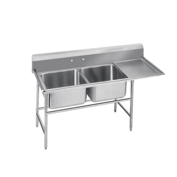 "Regaline Sink, 2-compartment, with right-hand drainboard, 20"" front-to-back x 16&#34"