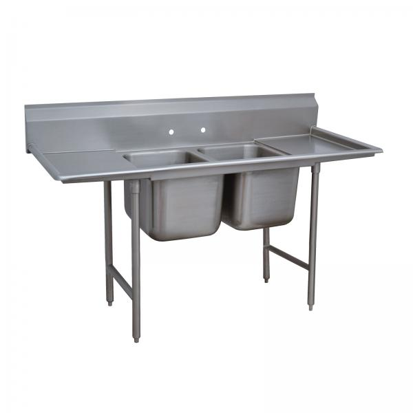 "Regaline Sink, 2-compartment, with left & right-hand drainboards, 20"" front-to-b"