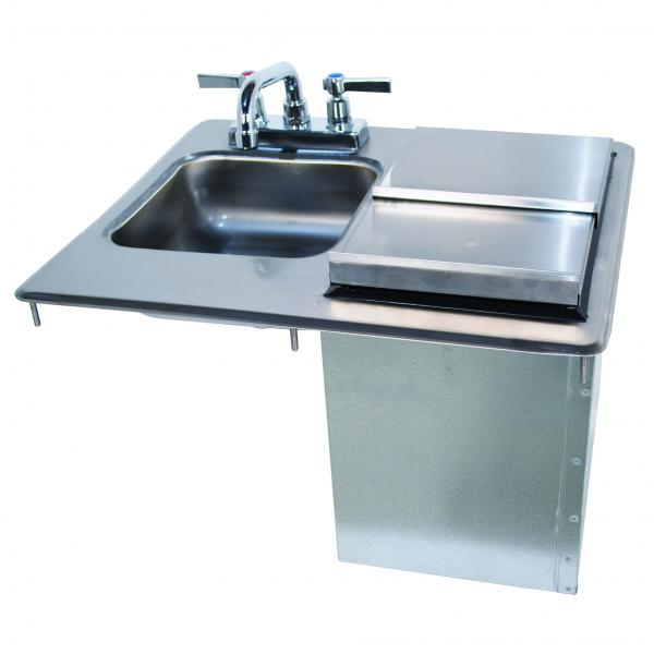 "Drop-In Hand Sink with Ice Bin, 9""W x 9""D front-to-back x 4"" deep sink bowl, k-51"