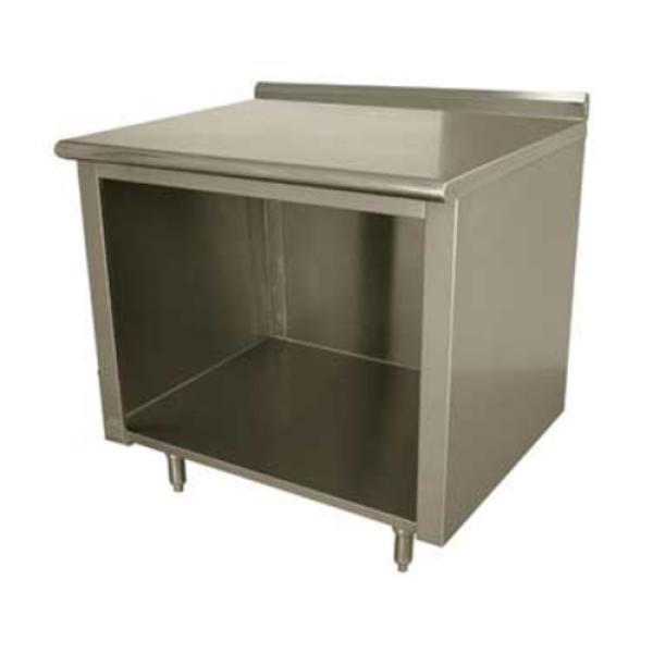 "Work Table, 108""W x 36""D, open front cabinet base, 14 gauge 304 stainless steel top with"