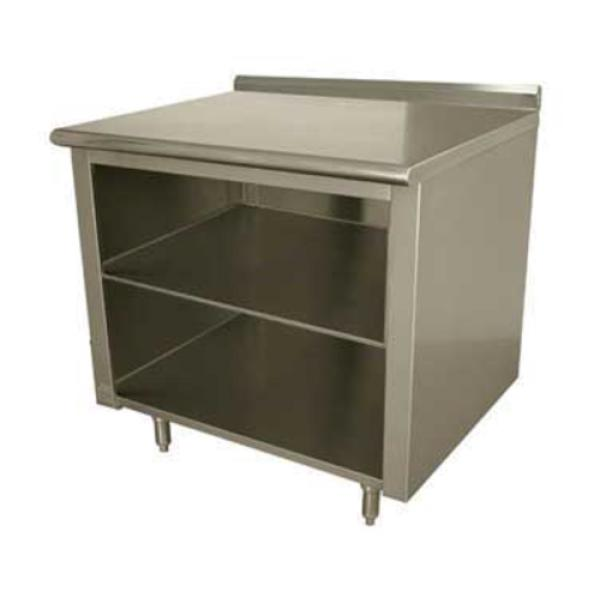 "Work Table, 60""W x 24""D, open front cabinet base with midshelf, 14 gauge 304 stainless"