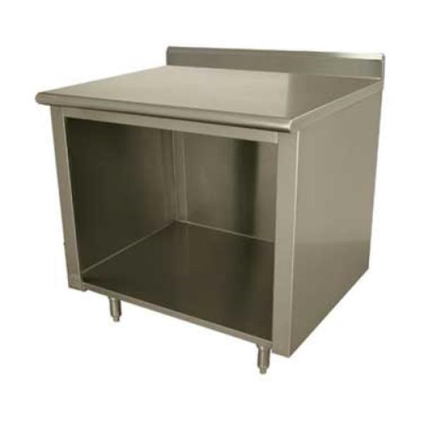 "Work Table, 60""W x 36""D, open front cabinet base, 14 gauge 304 stainless steel top, 5""H"