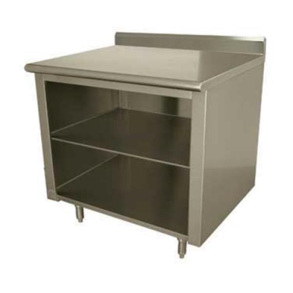 "Work Table, 144""W x 36""D, open front cabinet base with mid-shelf, 14 gauge 304 stainless"