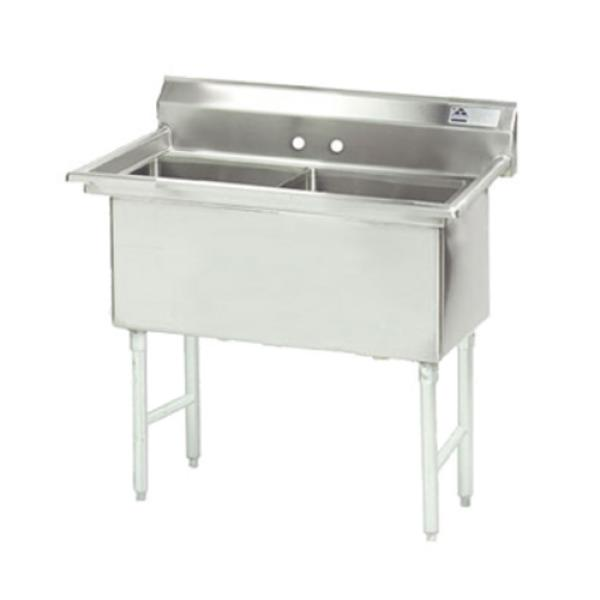 "Fabricated Sink, 2-compartment, no drainboards, bowl size 18"" x 24"" x 14"" deep, 16"