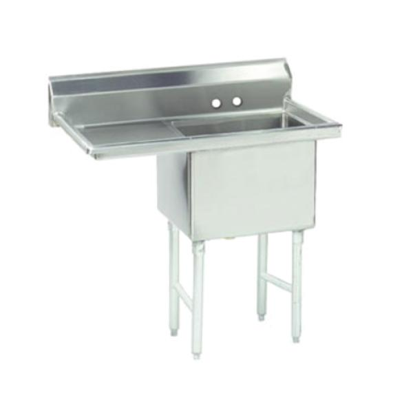"Fabricated Sink, 1-compartment, 18"" left drainboard, bowl size 24"" x 24"" x 14"""