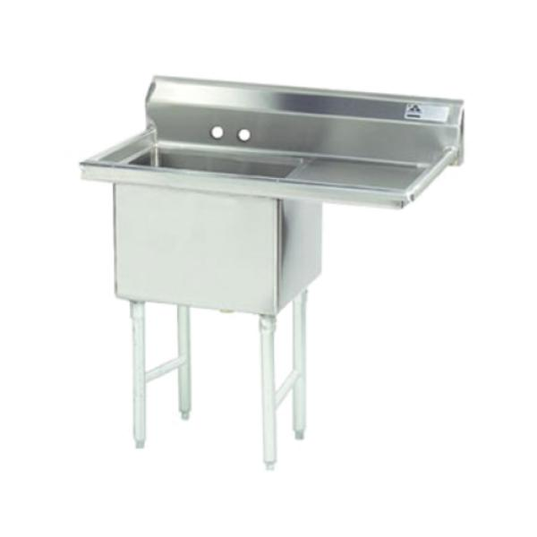 "Fabricated Sink, 1-compartment, 18"" right drainboard, bowl size 18"" x 24"" x 14"""
