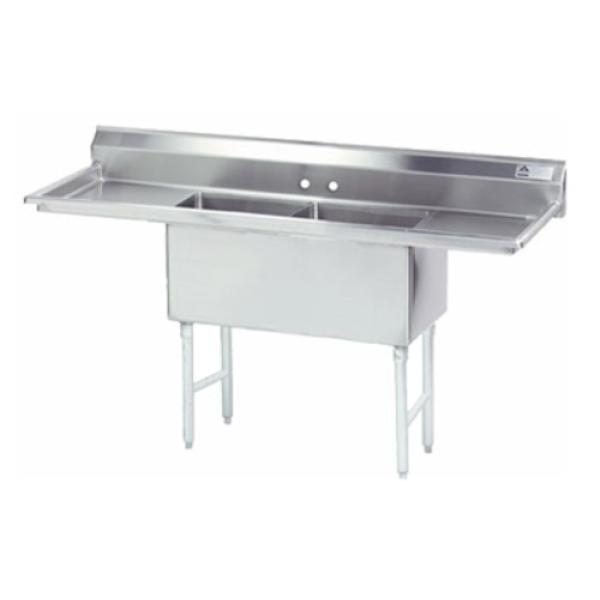 "Fabricated Sink, 2-compartment, 18"" right & left drainboards, bowl size 16"" x 20"" x"