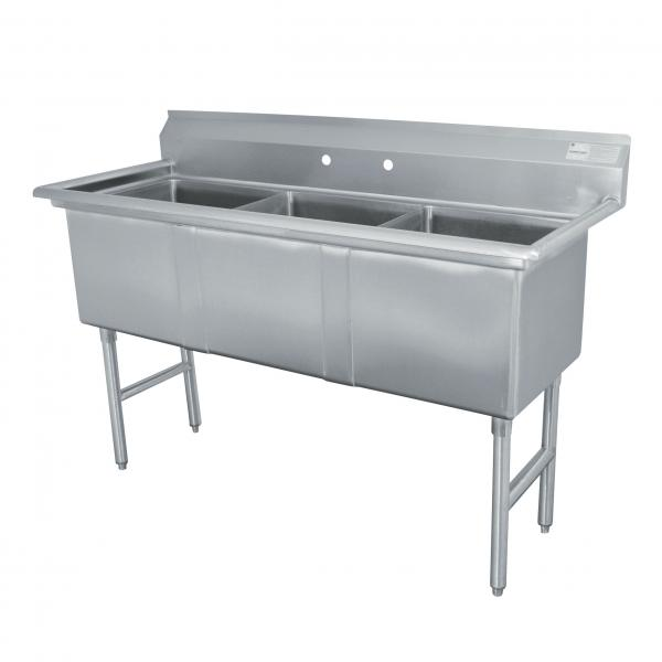 "Fabricated Sink, 3-compartment, no drainboards, bowl size 15"" x 15"" x 14"" deep, 16"