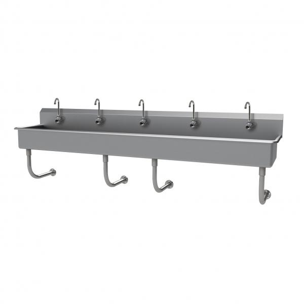 "Multiwash Hand Sink, wall mounted, with (5) electronic faucets, 100""W x 19-1/2""D x"