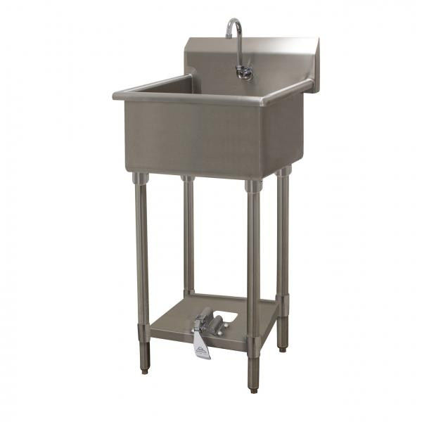 "Service Sink, floor model, with toe-operated push valve, 20""W x 19-1/2""D x 12"" deep"