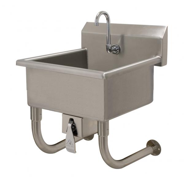 "Service Sink, wall mounted, with knee valve, 20""W x 19-1/2""D x 10"" deep bowl, 16 ga"