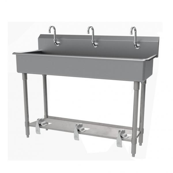 "Multiwash Hand Sink, wall mounted, with toe-operated push valve, 60""W x 19-1/2""D x"