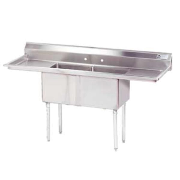 "Special Value Fabricated Sink, 2-compartment, 18"" right & left drainboards, bowl size"