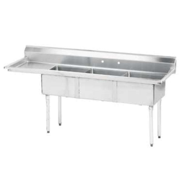 "Special Value Fabricated Sink, 3-compartment, 24"" left drainboard, bowl size 18"" x 24"""