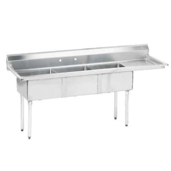 "Special Value Fabricated Sink, 3-compartment, 18"" right drainboard, bowl size 16"" x 20"""