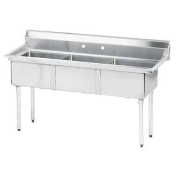 "Special Value Fabricated Sink, 3-compartment, no drainboards, bowl size 24"" x 24"" x 14"""