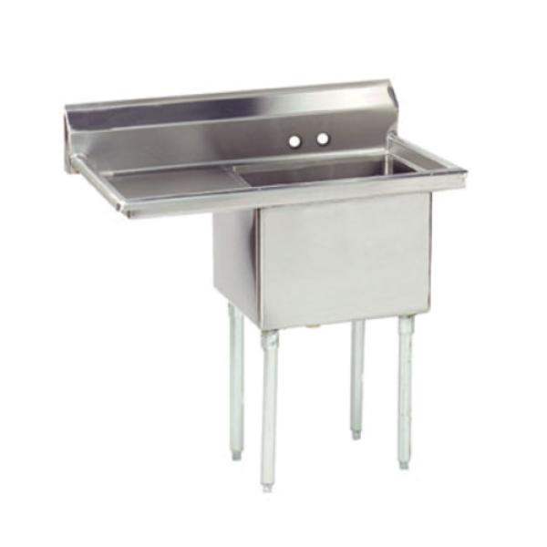 "Special Value Fabricated Sink, 1-compartment, 18"" left drainboard, bowl size 16"" x 20"""
