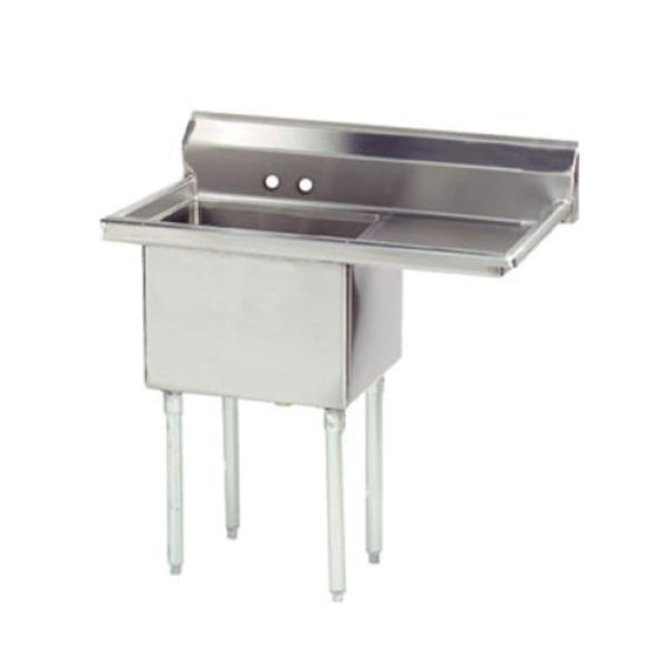 "Special Value Fabricated Sink, 1-compartment, 18"" right drainboard, bowl size 18"" x 18"""