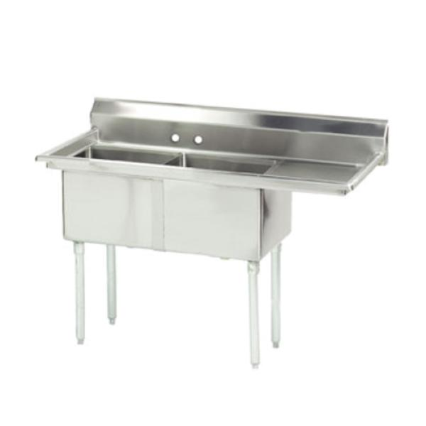 "Special Value Fabricated Sink, 2-compartment, 18"" right drainboard, bowl size 16"" x 20"""