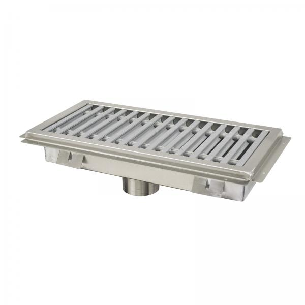 "Floor Trough, 48""W x 18""D x 4"" deep, with fiberglass grating, stainless steel removable"