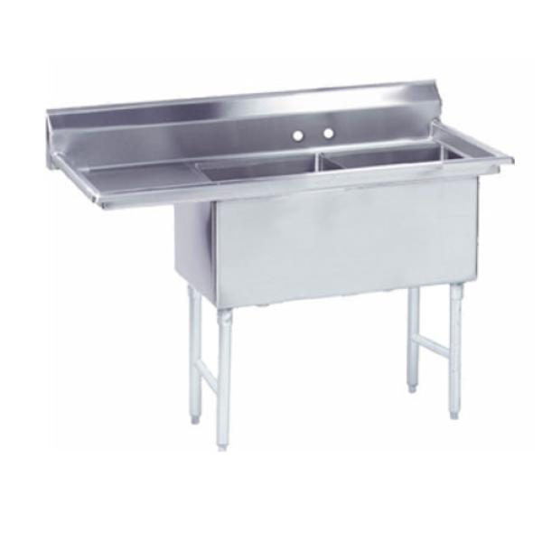 "Fabricated Sink, 2-compartment, 24"" left drainboard, bowl size 24"" x 24"" x 14"""