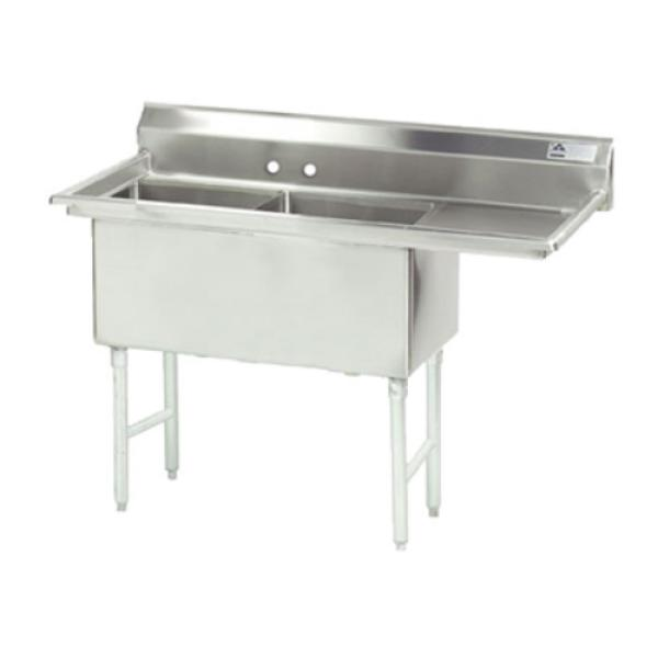 "Fabricated Sink, 2-compartment, 18"" right drainboard, bowl size 16"" x 20"" x 14"""