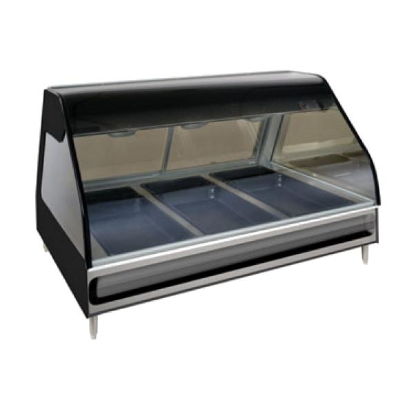 "Halo Heat® Heated Display Case, countertop 48"" L, full-service, curved glass fr"