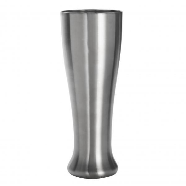 "Pilsner Glass, 16 oz., 3"" dia. x 8-1/4""H, double wall, stainless steel, satin finish"