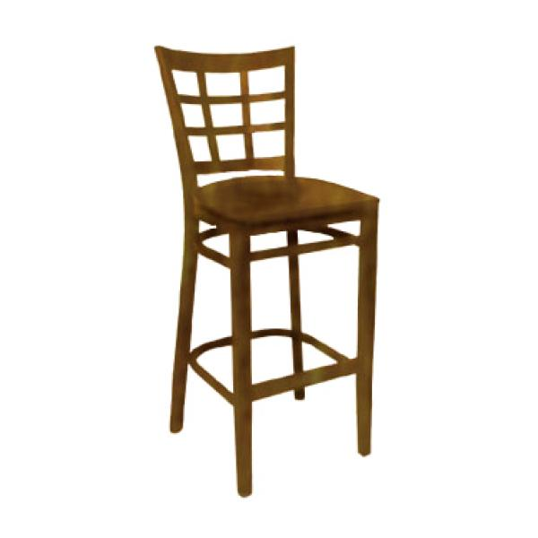 Bar Stool, nine grid back, solid wood saddle seat, beech frame w/cherry finish,