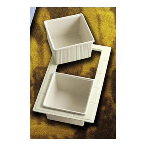 "Tile Tray, custom cut, 13-1/8"" x 21-3/8"", with 2 cutouts for (2) #9501, aluminum with"